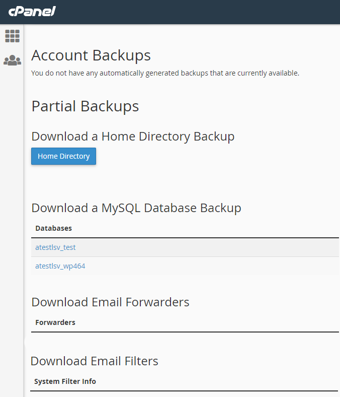 select partial backup option